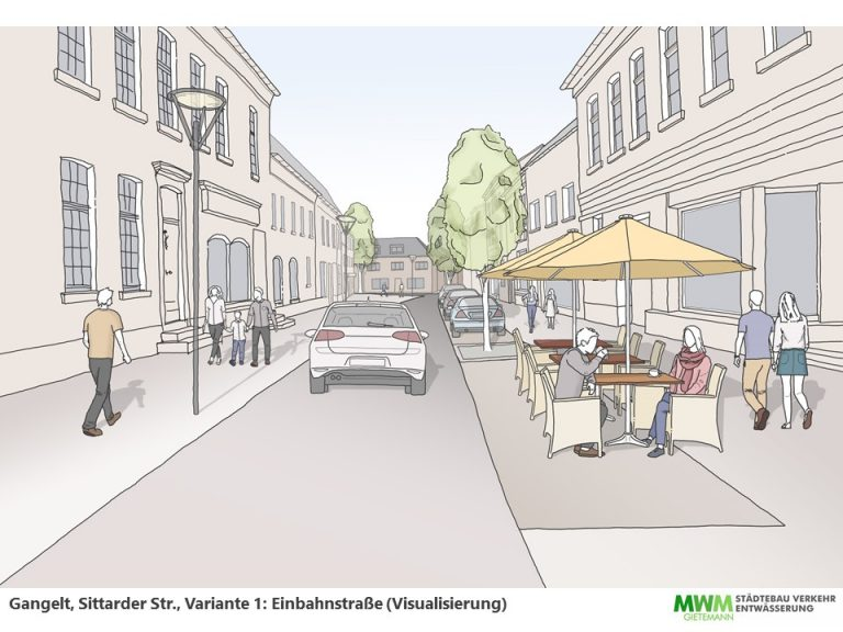 Visualisierung Sittarder Str. – Einbahnstraße